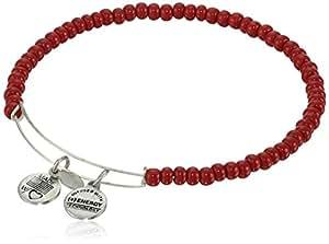 "Alex and Ani ""Collegiate"" Red Sea Bead Expandable Rafaelian Silver Finish Wire Bangle Bracelet"