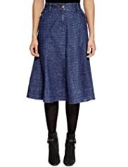 Per Una Spotted A-Line Denim Skirt [T62-7628I-S]