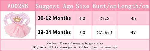 NNJXD Girl Shinny Stripe Baby Girl Long Sleeve Printed Tutu Dress Gold&Light Black 10-12 Months