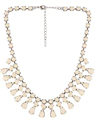 Jazz Jewellery Silver Plated White Rhinestone Tear Drop Designer Choker Necklace For Women And Girls