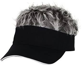 Amazon.com: Flair Hair Men's Black Visor and Hair, Grey, One Size