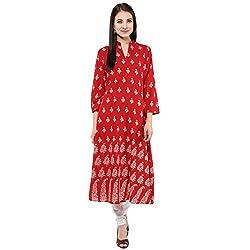 Bhama Couture Red Printed A-line Kurti Medium
