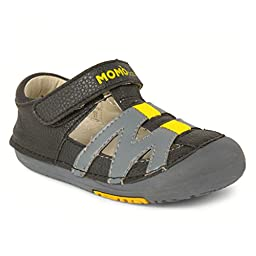 Momo Baby Boys First Walker/Toddler Mason Black/Gray Sandal Shoes - 4 M US Toddler