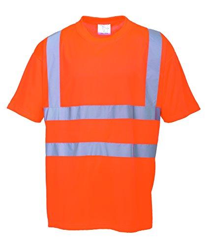 Portwest Rt23Orrm - T-Shirt Da Lavoro Alta Visibilité', Colore: Arancione Fluo/Blu, Taglia M