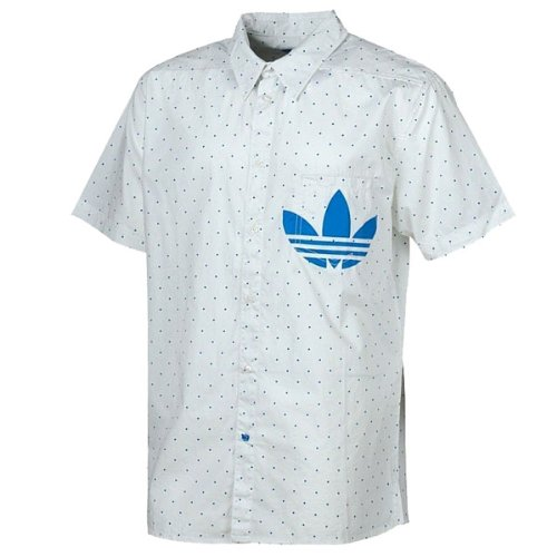Adidas Originals Archive Trefoil Logo White Short Sleeved Slim Fit Smart Casual Shirt - Mens - XL