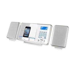 H&B HF430IW Mini chaîne Hi-fi / mp3 avec tuner digital Radio réveil Heure Télécommande Lecteur carte SD Port USB Compatible iPod Fixation murale 50 W Blanc