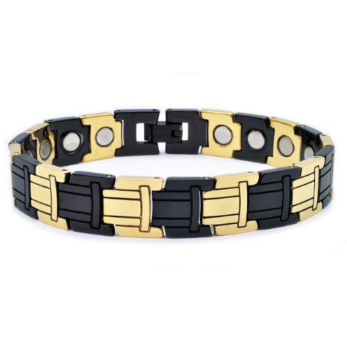 Tungsten Carbide Bio-Magnetic Black and Gold Plate Tribal Link Bracelet - 12MM - 8 3/4 Inches