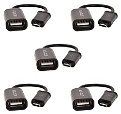 (5 Pack) Storite New Micro USB OTG Cable - Attach Pendrive, Mouse, Keyboard To Mobiles & Tablets - USB A Female to Micro USB B 5 Pin Male Adapter Cable Black