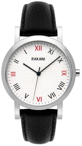 Rakani Running Behind 40Mm Checkered Watch With Black Leather Band