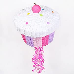 "Pink Cupcake 13"" Pull-String Pinata from BirthdayExpress"