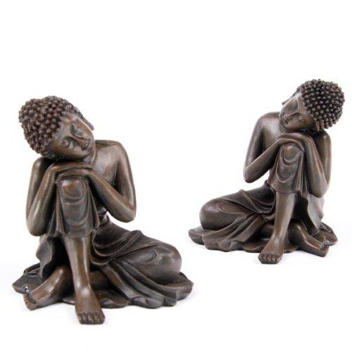 new set von 2 braun ausruhen holz effekt thai buddha figuren ornaments. Black Bedroom Furniture Sets. Home Design Ideas