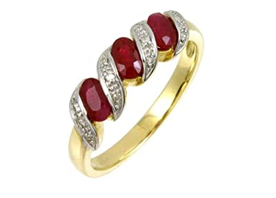 Ariel 9ct Yellow Gold Diamond and Ruby Eternity Ladies Ring