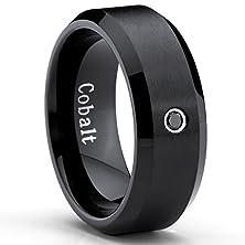 buy Black Cobalt Ring Men'S Wedding Band With 0.04 Real Black Diamond 8Mm, Size 11