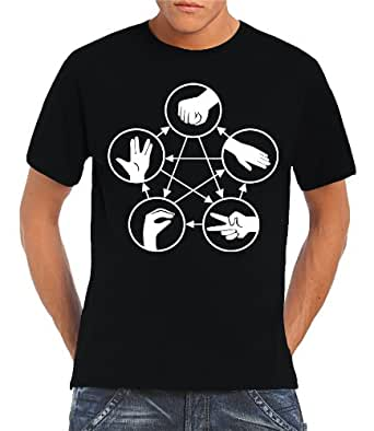 Touchlines - Big Bang Theory - Stein Schere Papier Echse Spock T-Shirt Black, S