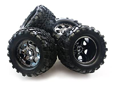 HPI Savage X 4.6 4 GT2 TIRES & BLACK CHROME WHEELS 17mm Hubs (hex nut SS XL Flux