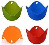 Shot--In 4Pcs Silicone Egg Poacher Molds Kitchen Cookware Tool Random Color