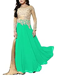 Miss Ethnic Women's Net Unstitched Dress Material (Green and Gold)