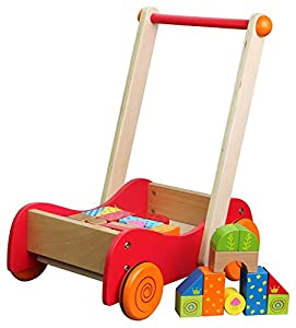 LELIN WOODEN WOOD CHILDRENS TODDLER WALKIE WALKIE WALKER PUSH ALONG ACTIVITY TOY TODDLE TRUCK