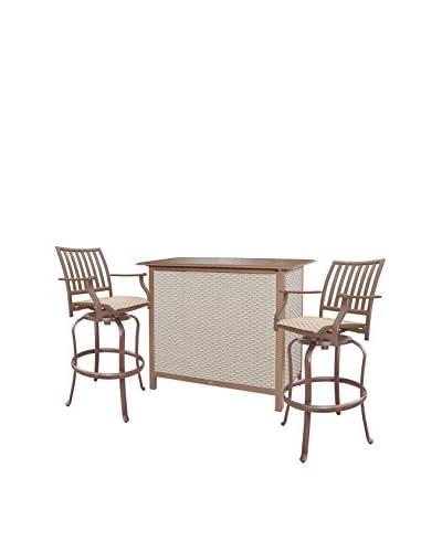 Panama Jack Island Breeze 3-Piece Slatted Bar Table Set, Espresso