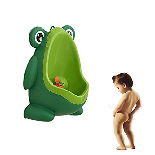 Geekercity Cute Frog Boys Potty Toilet Training for Toddler Boys Pee Trainer Bathroom Children Urinal with Funny Whirling Aiming Target (Green) (Hot Tub Hat compare prices)