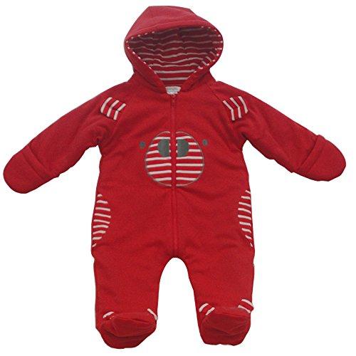 pitterpatter Schneeanzug Baby 0-9Monate 1Stück (Raspberry, hell gestreift, Gestreift Bär) mit Kapuze Gr. 3-6 Monate,  - Stripe Bear