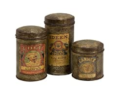 Set of 3 Antique Vintage Label Metal Canisters