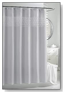 Kassatex SSP-115-SLV Smock Pleat Shower Curtain
