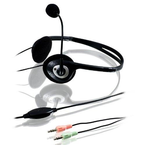 CSL - Headset | Komfort Kopfhörer / Mikrofon mit Popschutz | Volumenregler | Teamspeak / VOIP / Skype / ICQ / Google Handouts / Yahoo Messenger | schwarz/anthrazit