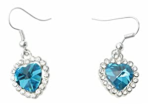 eFuture(TM) 1 Pair Crystal Love Heart Of The Ocean Titanic Earrings For Woman +eFuture's nice Keyring