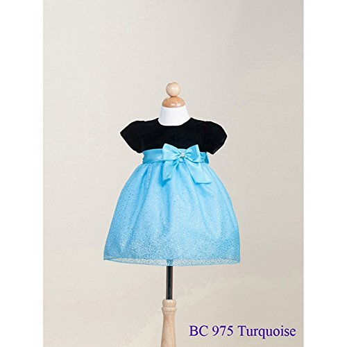 Crayon Kids Baby Girls Turquoise Sparkling Organza Christmas Dress 24M front-679754