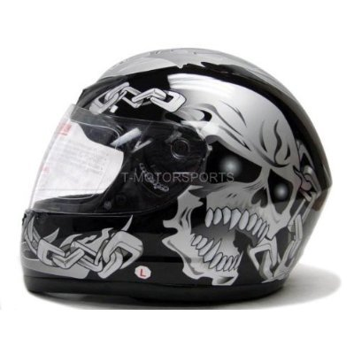 Black Silver Skull Chain Full Face Motorcycle