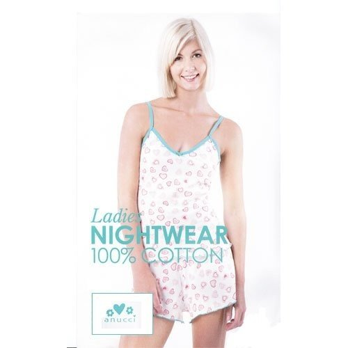 Ladies/Womens White Hearts or Plain Green Nightwear Short Pyjamas Set
