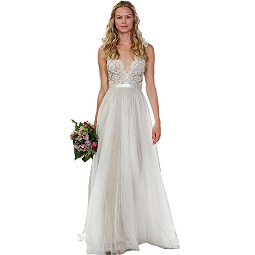 Prettiest Wedding Dresses In History : Weixinbuy womens lace chiffon long co