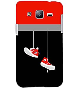 PrintDhaba Hanging Shoes D-3511 Back Case Cover for SAMSUNG GALAXY J2 (Multi-Coloured)