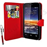 Case In Your Face® Vodafone Smart 4 Mini Premium PU Leather Flip Case Cover Pouch - Various Colours (Red)