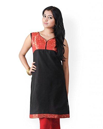 HiFi Women's Ethnic Style Sleeveless Silk Kurtis - Black Colour