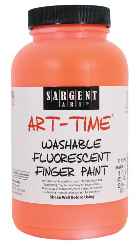 Sargent Art 22-9614 16-Ounce Art Time Washable Fluorescent Finger Paint, Orange