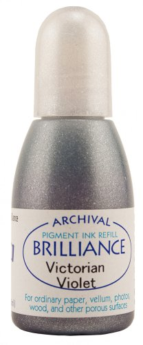 Tsukineko 20 cc Brilliance Pigment Inker, Re-Ink Brilliance Inkpads and Dew Drops, Victorian Violet