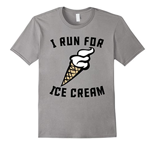 Men's I Run For Ice Cream Funny Runner Ice Cream Humor T-Shirt Small Slate (I Run For Ice Cream Shirt compare prices)