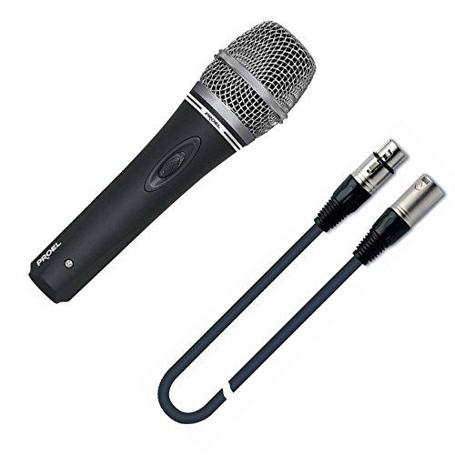 PROEL DM220 XLR microfono dinamico cardioide switch on/off + cavo xlr m/f 3mt x canto, karaoke, ecc