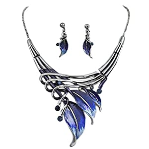 Silvertone Dark Blue Leaf Statement Necklace and Earrings Set Fashion Jewelry
