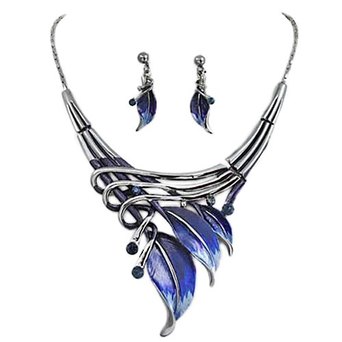 Silvertone Dark Blue Leaf Statement Necklace
