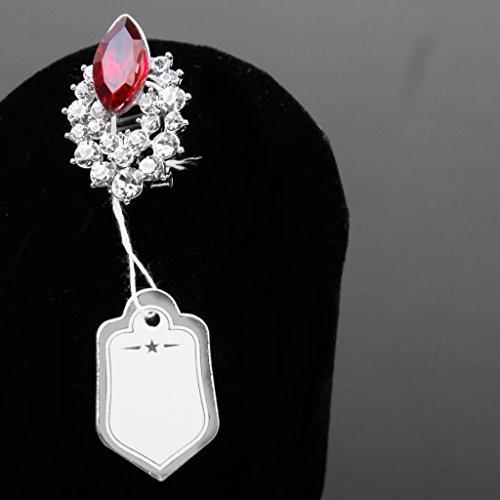500pcs Étiquettes de Prix avec Cordes Suspendues Affichage de Vente de Bijoux Anneaux - Blanc et d'argent