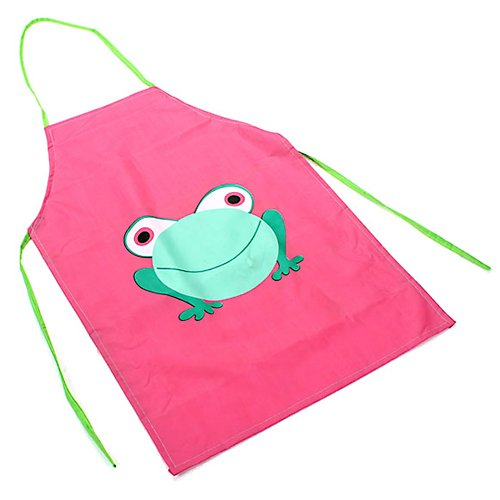 Zacr Children's Waterproof Apron Cartoon Frog Printed Painting Cooking Pink - 1