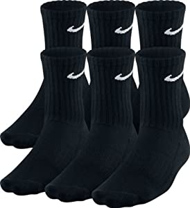 (6 PACK) Nike Crew Socks BLACK Size UK 8-11 EUR 42-46 WITH TAG ATTACHED