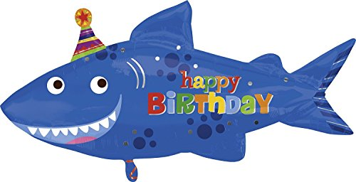 "Happy Birthday Blue Shark Shape 39"" Mylar Foil Balloon"