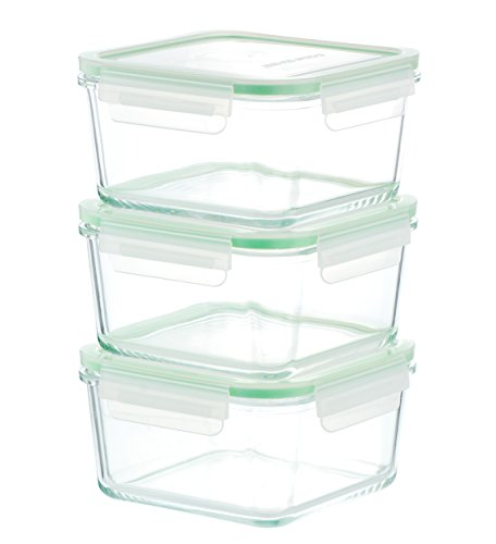 Kinetic GoGREEN Glassworks Series 6 Piece Square Oven Safe Glass Food Storage Container Set 35-Ounce Each (3 Containers and 3 Lids) 01331 (Glass Freezer Storage compare prices)