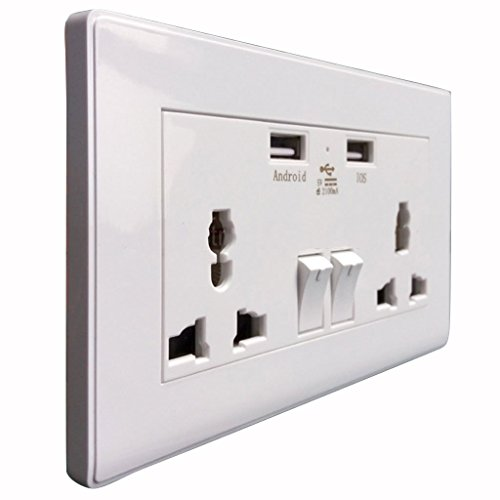 Imported 2-Port USB Wall Socket Switch Charger AC Power Receptacle Outlet Plate Panel