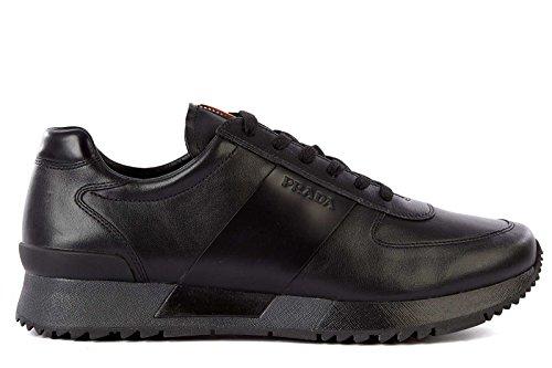 Prada scarpe sneakers uomo in pelle nuove nero EU 44.5 4E2602 3O1S F0002