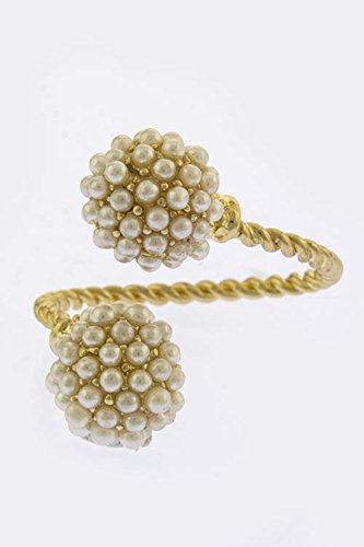 Karmas Canvas Mini Pearl Encrusted Orb Tip Cuff Ring (Gold)